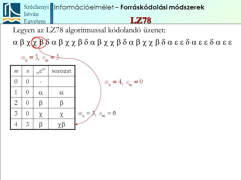 """Széchenyi István Egyetem 80 Legyen az LZ78 algoritmussal kódolandó üzenet:  mn""""c"""""""