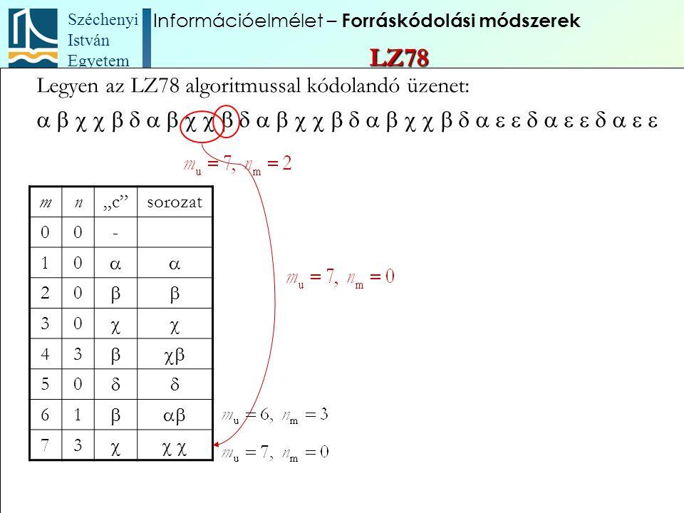 """Széchenyi István Egyetem 83 Legyen az LZ78 algoritmussal kódolandó üzenet:  mn""""c"""""""
