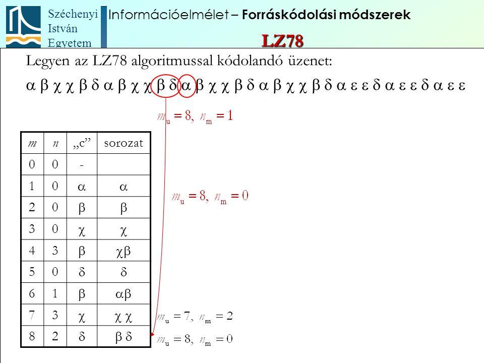 """Széchenyi István Egyetem 84 Legyen az LZ78 algoritmussal kódolandó üzenet:  mn""""c"""""""