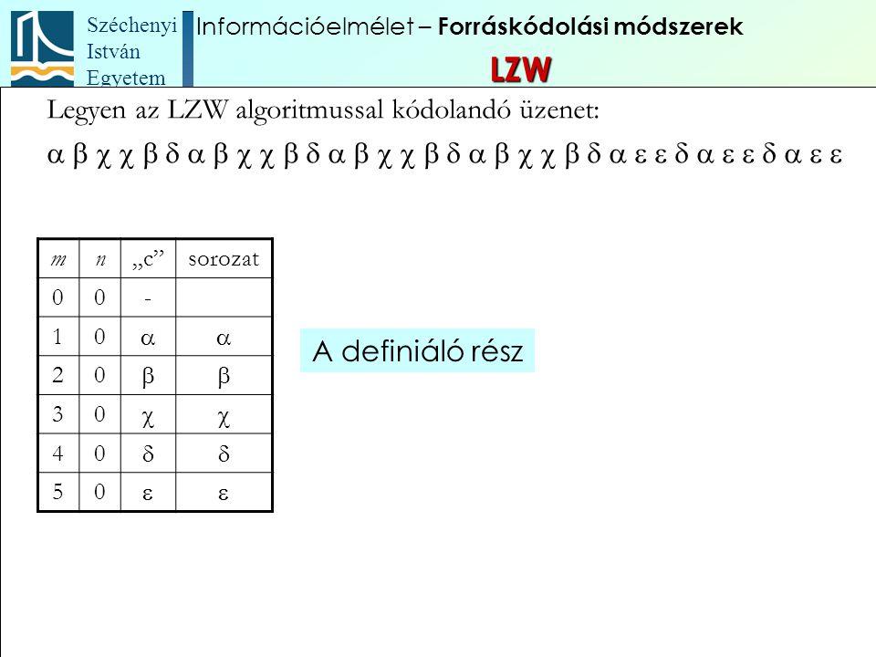 """Széchenyi István Egyetem 89 Legyen az LZW algoritmussal kódolandó üzenet:  mn""""c""""s"""