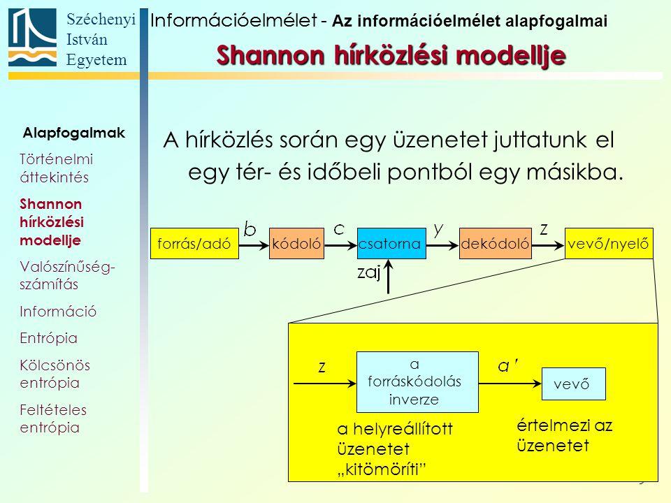 Széchenyi István Egyetem 40 Ellenőrizhetjük a feltételes és együttes előfor- dulási valószínűségek közötti összefüggé- seket.