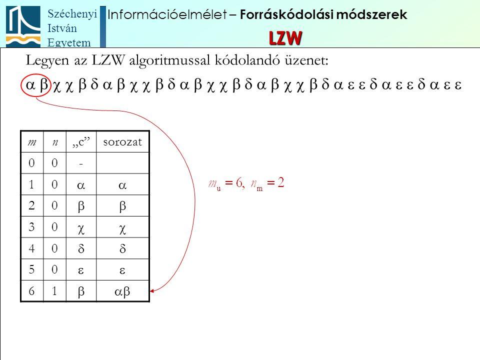 """Széchenyi István Egyetem 90 Legyen az LZW algoritmussal kódolandó üzenet:  mn""""c""""s"""