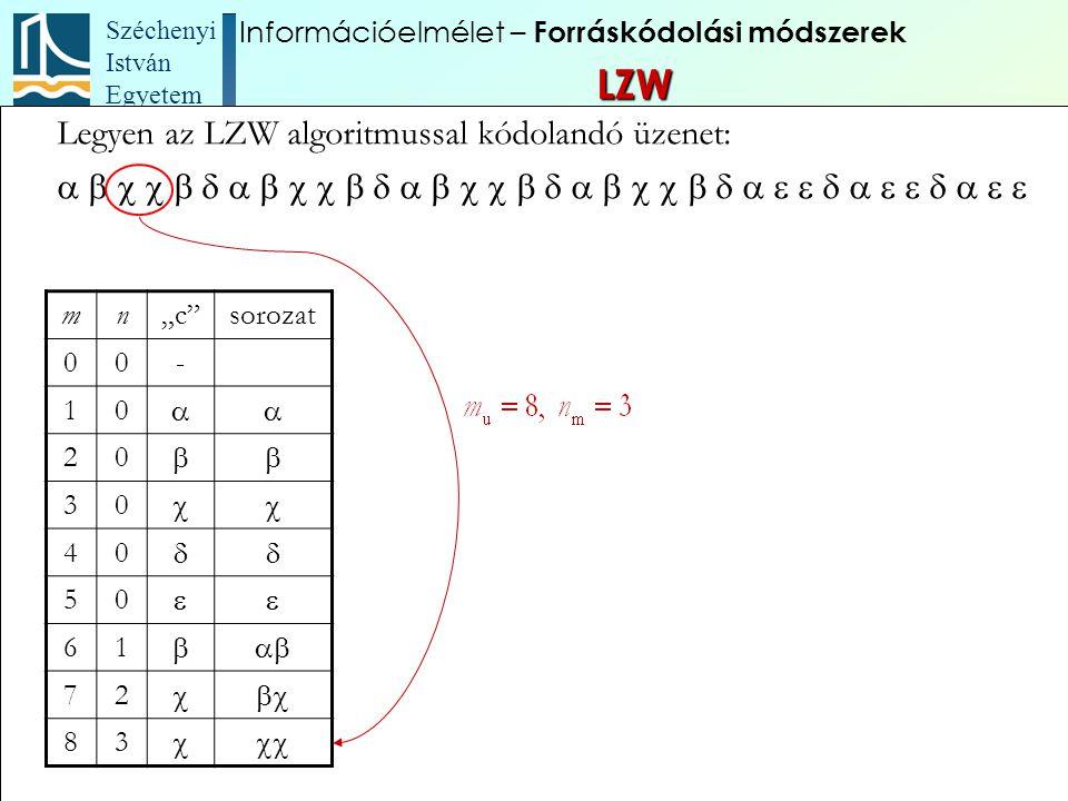 """Széchenyi István Egyetem 92 Legyen az LZW algoritmussal kódolandó üzenet:  mn""""c""""s"""