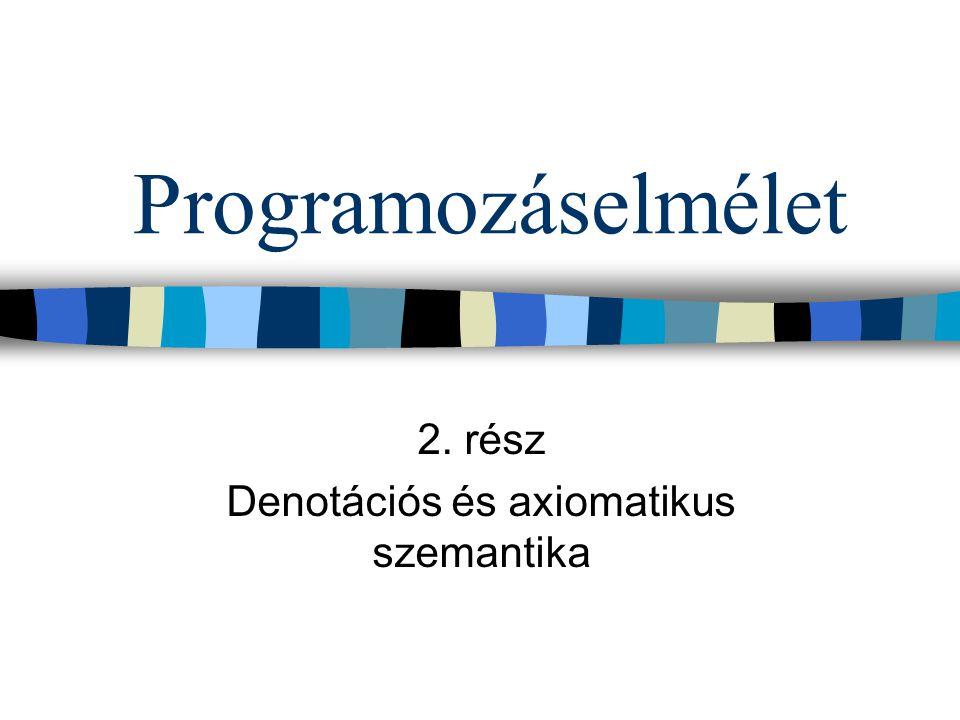 Programozáselmélet 2. rész Denotációs és axiomatikus szemantika