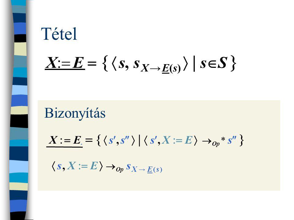 Tétel X  E    s, s X → E(s)  | s  S  Bizonyítás X   E    s, s   |  s, X  E   Op * s    s, X  E   Op s X → E  s 