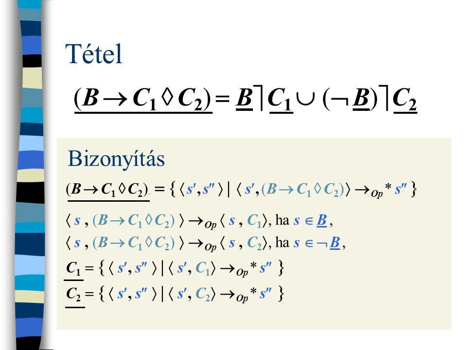 Tétel (B  C 1  C 2 )  B  C 1  (  B)  C 2 Bizonyítás (B  C 1  C 2 )    s, s   |  s, (B  C 1  C 2 )   Op * s    s, (B  C 1  C 2 )   Op  s, C 1 , ha s  B,  s, (B  C 1  C 2 )   Op  s, C 2 , ha s   B, C 1    s, s   |  s, C 1   Op * s   C 2    s, s   |  s, C 2   Op * s  