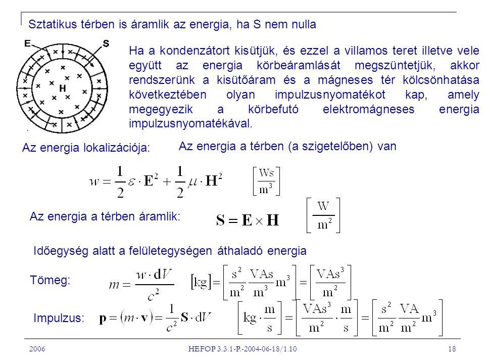 2006 HEFOP 3.3.1-P.-2004-06-18/1.10 18 Sztatikus térben is áramlik az energia, ha S nem nulla Ha a kondenzátort kisütjük, és ezzel a villamos teret illetve vele együtt az energia körbeáramlását megszüntetjük, akkor rendszerünk a kisütőáram és a mágneses tér kölcsönhatása következtében olyan impulzusnyomatékot kap, amely megegyezik a körbefutó elektromágneses energia impulzusnyomatékával.