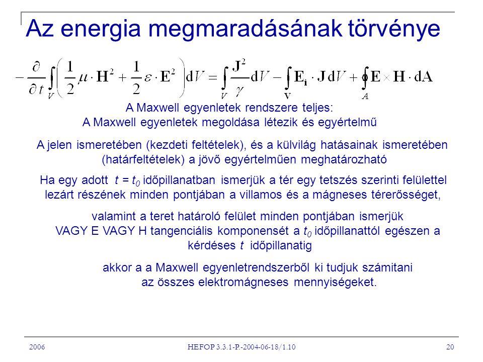 2006 HEFOP 3.3.1-P.-2004-06-18/1.10 20 Az energia megmaradásának törvénye A Maxwell egyenletek rendszere teljes: A Maxwell egyenletek megoldása létezik és egyértelmű A jelen ismeretében (kezdeti feltételek), és a külvilág hatásainak ismeretében (határfeltételek) a jövő egyértelműen meghatározható Ha egy adott t = t 0 időpillanatban ismerjük a tér egy tetszés szerinti felülettel lezárt részének minden pontjában a villamos és a mágneses térerősséget, valamint a teret határoló felület minden pontjában ismerjük VAGY E VAGY H tangenciális komponensét a t 0 időpillanattól egészen a kérdéses t időpillanatig akkor a a Maxwell egyenletrendszerből ki tudjuk számitani az összes elektromágneses mennyiségeket.