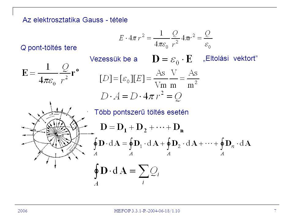 """2006 HEFOP 3.3.1-P.-2004-06-18/1.10 7 Az elektrosztatika Gauss - tétele Q pont-töltés tere Vezessük be a """"Eltolási vektort Több pontszerű töltés esetén"""