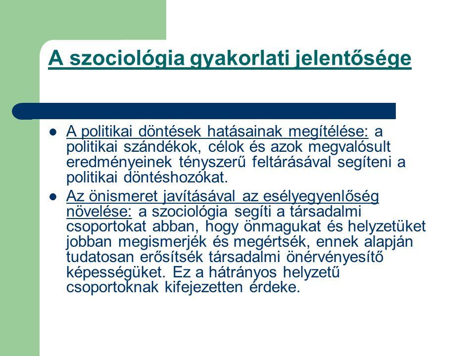 A szociológia gyakorlati jelentősége A politikai döntések hatásainak megítélése: a politikai szándékok, célok és azok megvalósult eredményeinek tényszerű feltárásával segíteni a politikai döntéshozókat.