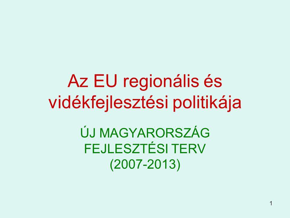 1 Az EU regionális és vidékfejlesztési politikája ÚJ MAGYARORSZÁG FEJLESZTÉSI TERV (2007-2013)
