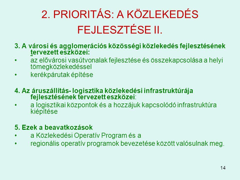 14 2. PRIORITÁS: A KÖZLEKEDÉS FEJLESZTÉSE II. 3. A városi és agglomerációs közösségi közlekedés fejlesztésének tervezett eszközei: az elővárosi vasútv