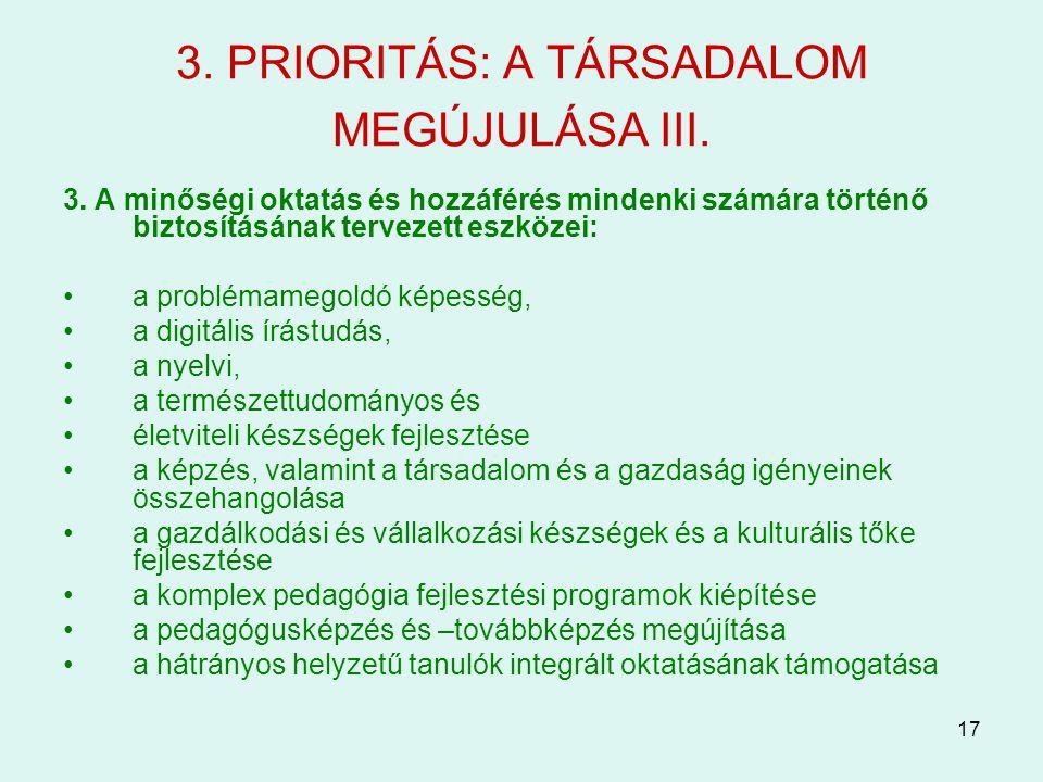 17 3. PRIORITÁS: A TÁRSADALOM MEGÚJULÁSA III. 3. A minőségi oktatás és hozzáférés mindenki számára történő biztosításának tervezett eszközei: a problé