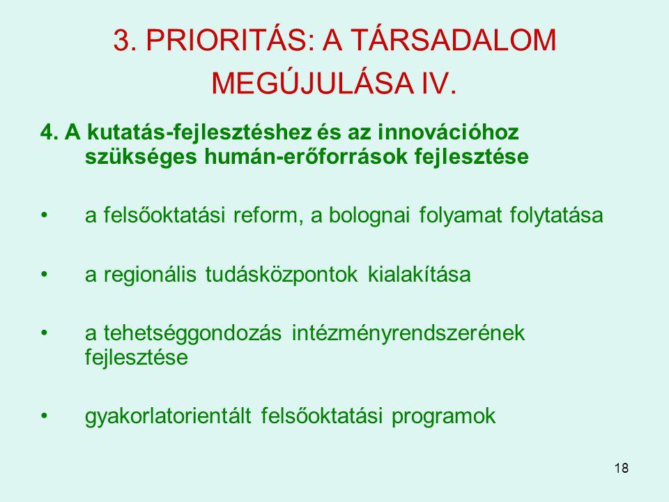 18 3. PRIORITÁS: A TÁRSADALOM MEGÚJULÁSA IV. 4. A kutatás-fejlesztéshez és az innovációhoz szükséges humán-erőforrások fejlesztése a felsőoktatási ref