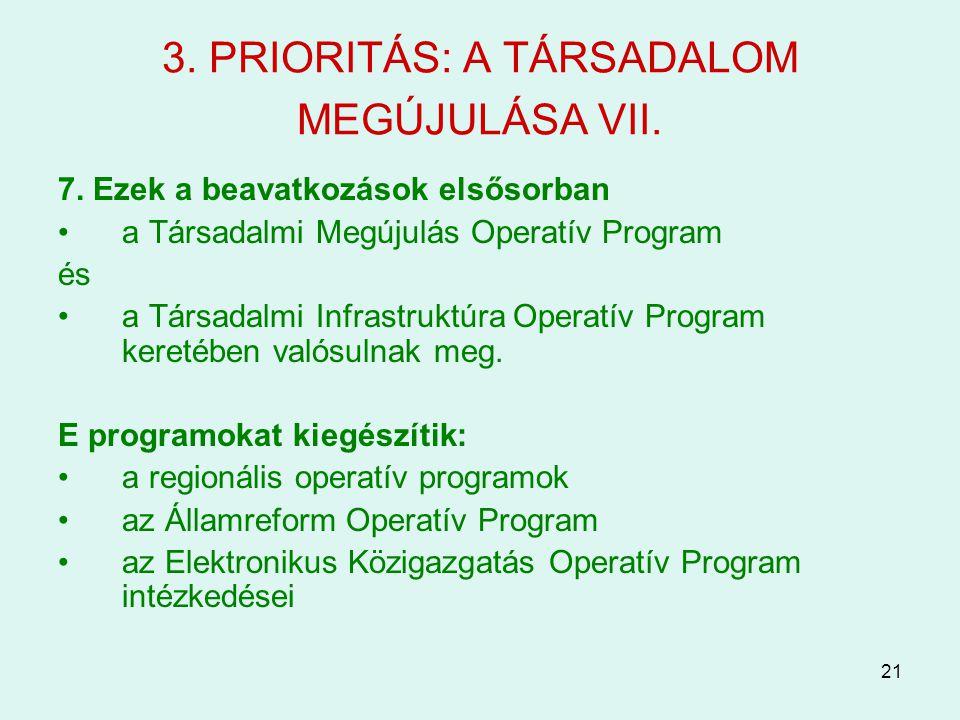 21 3. PRIORITÁS: A TÁRSADALOM MEGÚJULÁSA VII. 7. Ezek a beavatkozások elsősorban a Társadalmi Megújulás Operatív Program és a Társadalmi Infrastruktúr