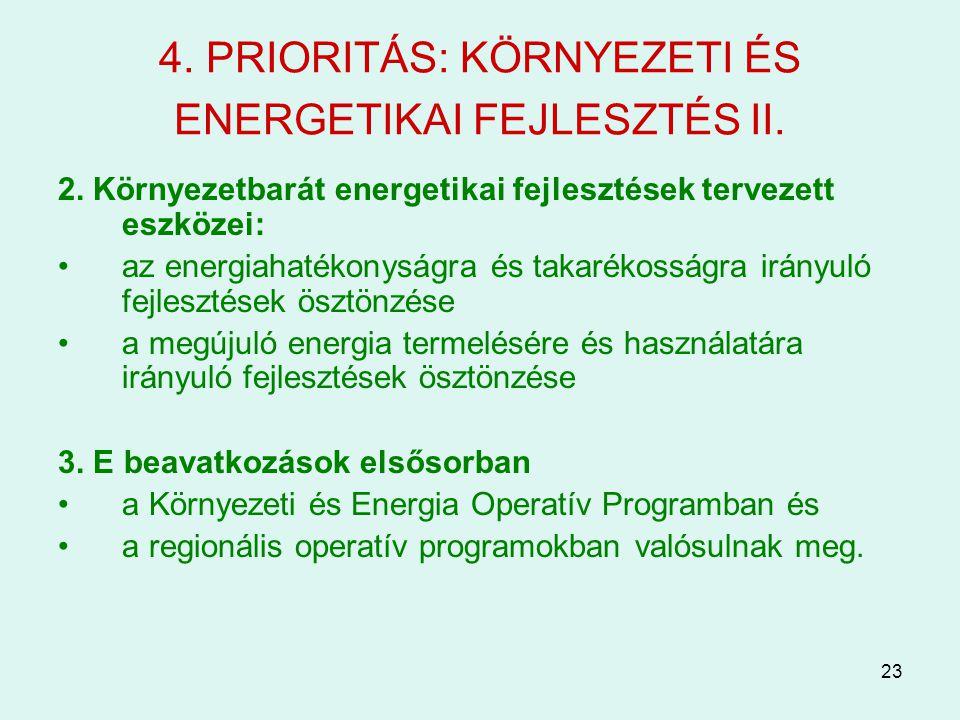 23 4. PRIORITÁS: KÖRNYEZETI ÉS ENERGETIKAI FEJLESZTÉS II. 2. Környezetbarát energetikai fejlesztések tervezett eszközei: az energiahatékonyságra és ta