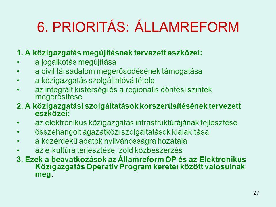 27 6. PRIORITÁS: ÁLLAMREFORM 1. A közigazgatás megújításnak tervezett eszközei: a jogalkotás megújítása a civil társadalom megerősödésének támogatása