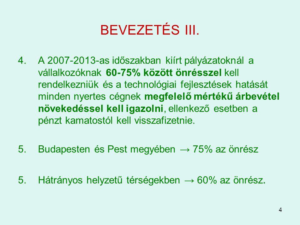 4 BEVEZETÉS III. 4.A 2007-2013-as időszakban kiírt pályázatoknál a vállalkozóknak 60-75% között önrésszel kell rendelkezniük és a technológiai fejlesz