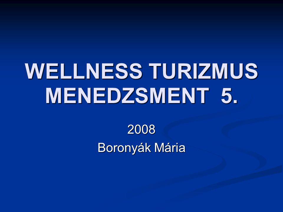 WELLNESS TURIZMUS MENEDZSMENT 5. 2008 Boronyák Mária