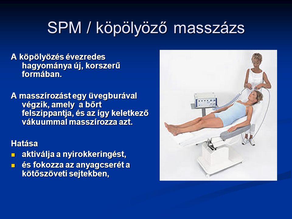 SPM / köpölyöző masszázs A köpölyözés évezredes hagyománya új, korszerű formában. A masszírozást egy üvegburával végzik, amely a bőrt felszippantja, é
