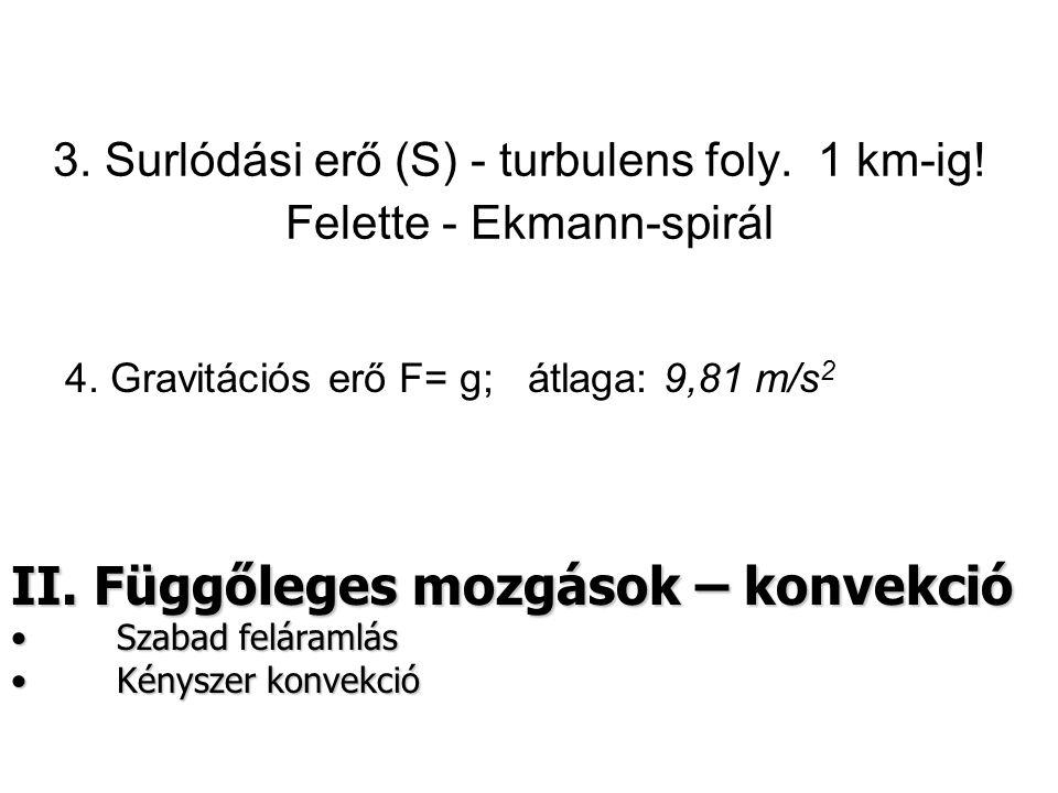 3.Surlódási erő (S) - turbulens foly. 1 km-ig. Felette - Ekmann-spirál 4.