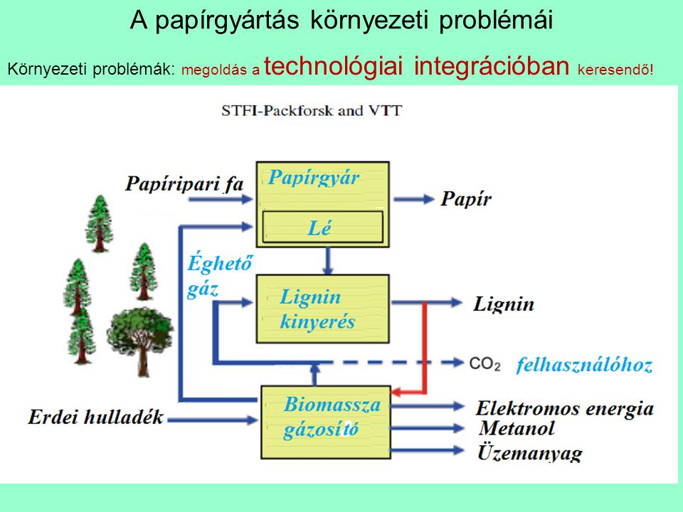 A papírgyártás környezeti problémái Környezeti problémák: megoldás a technológiai integrációban keresendő!