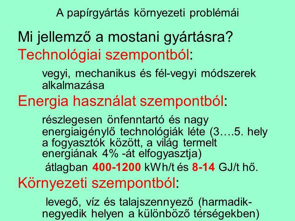 A papírgyártás környezeti problémái Klórozott anyagokSzámÉrték Klórozott fenol származékok40>100 g/t Klórozott aldehidek, ketonok, laktonok 45500 g/t Klórsavak40>500 g/t Klórozott szénhidrátok45 Klórozott éterek20 Nagytömegű klórozott termékeknéhány>4 kg/t