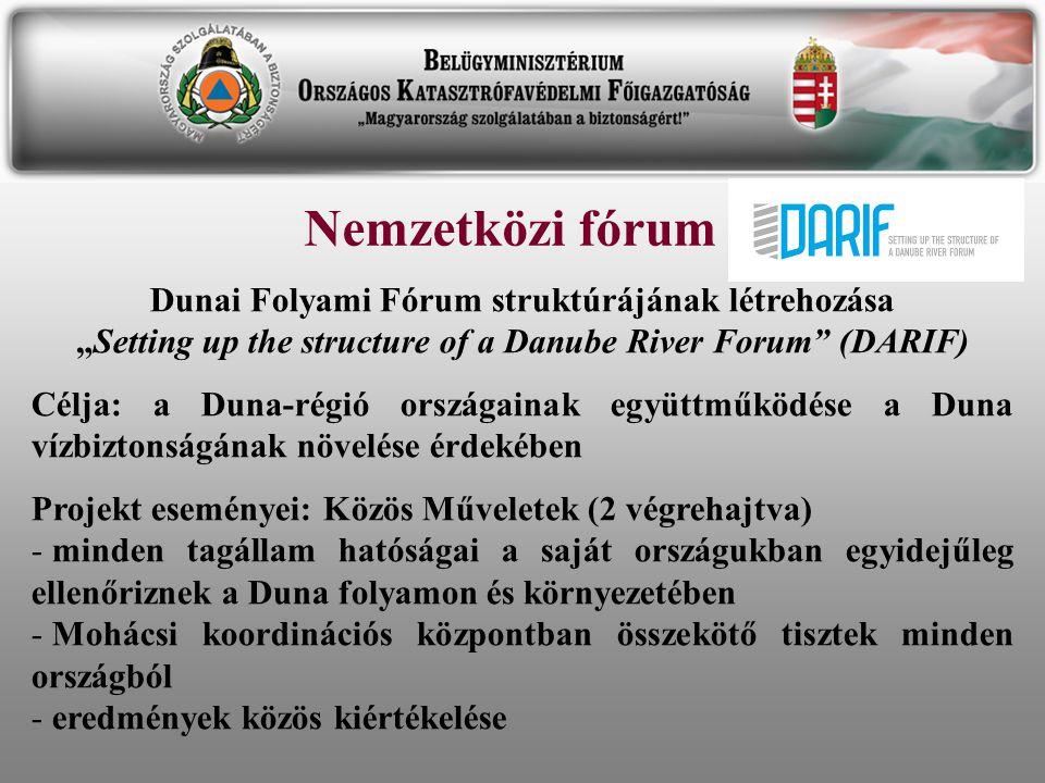 """Nemzetközi fórum Dunai Folyami Fórum struktúrájának létrehozása """"Setting up the structure of a Danube River Forum"""" (DARIF) Célja: a Duna-régió országa"""