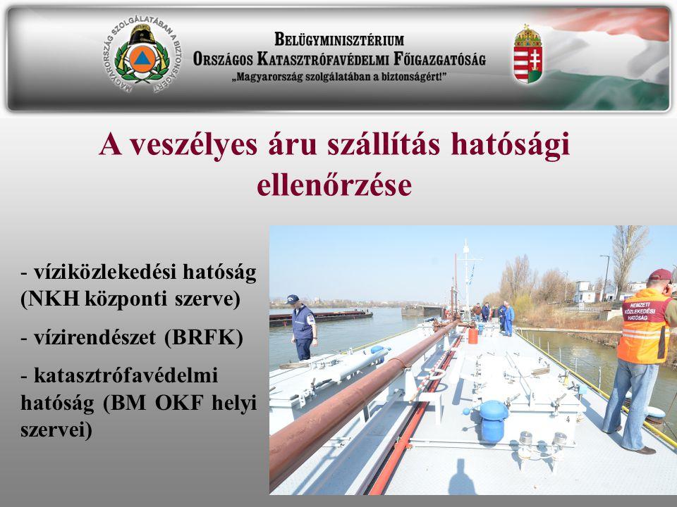 A veszélyes áru szállítás hatósági ellenőrzése - víziközlekedési hatóság (NKH központi szerve) - vízirendészet (BRFK) - katasztrófavédelmi hatóság (BM