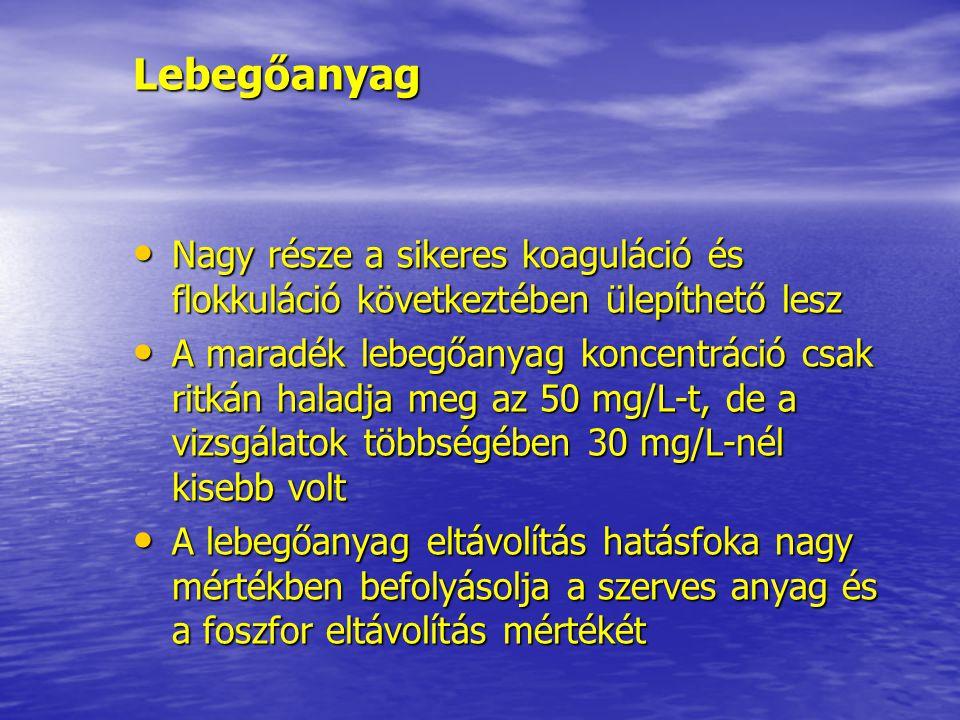 Lebegőanyag Nagy része a sikeres koaguláció és flokkuláció következtében ülepíthető lesz Nagy része a sikeres koaguláció és flokkuláció következtében