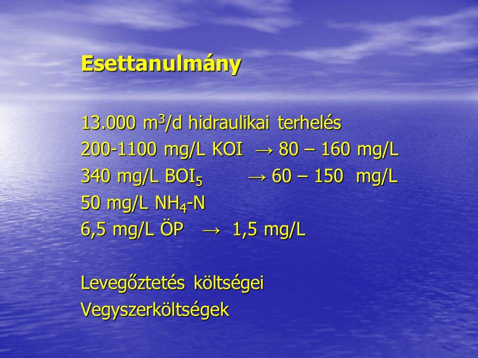 Esettanulmány 13.000 m 3 /d hidraulikai terhelés 200-1100 mg/L KOI → 80 – 160 mg/L 340 mg/L BOI 5 → 60 – 150 mg/L 50 mg/L NH 4 -N 6,5 mg/L ÖP → 1,5 mg