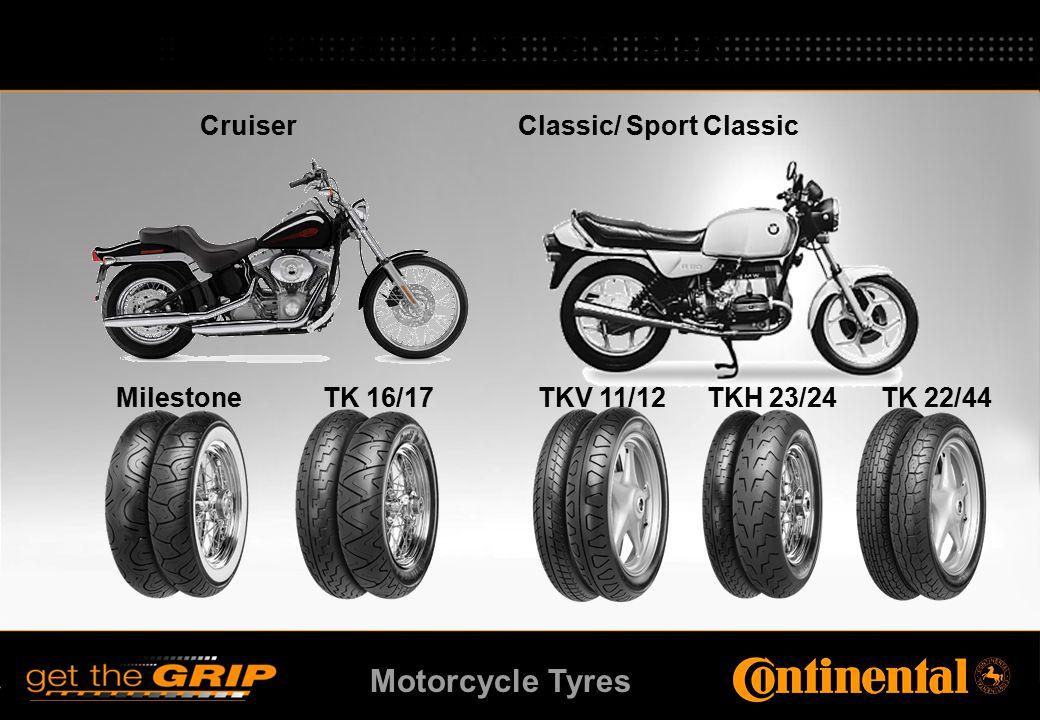 Motorcycle Tyres MilestoneTK 16/17TKH 23/24TK 22/44TKV 11/12 Cruiser Classic/ Sport Classic Alkalmazási területek