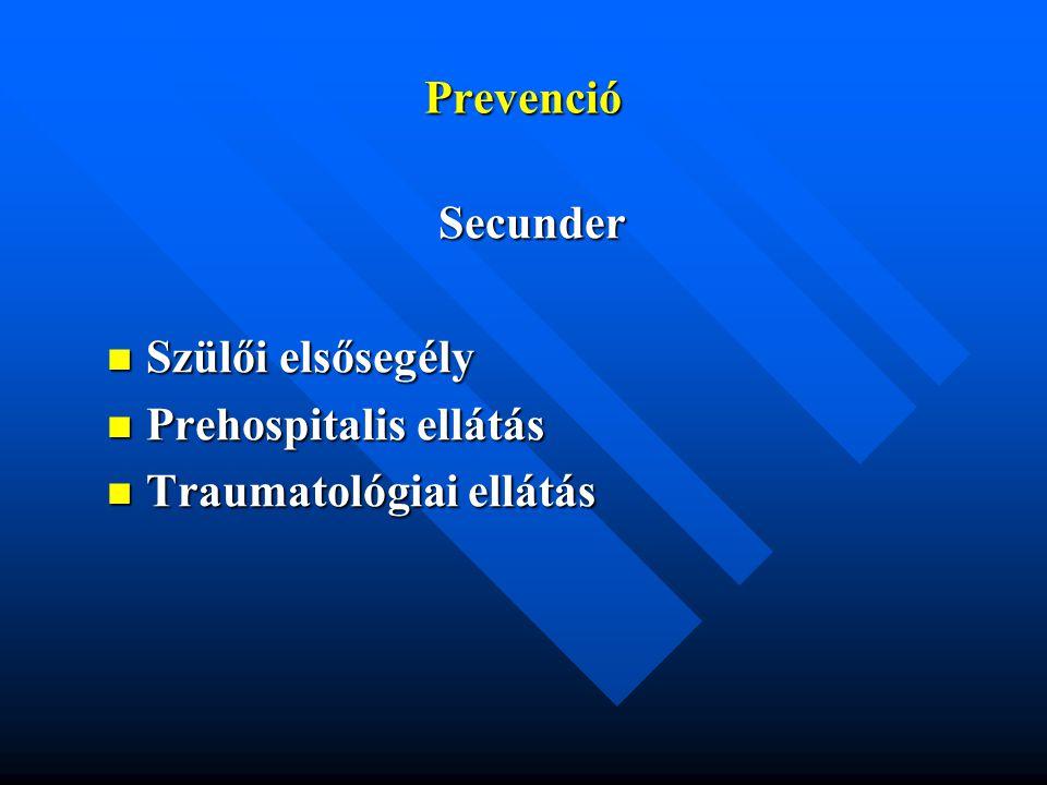Prevenció Secunder Szülői elsősegély Szülői elsősegély Prehospitalis ellátás Prehospitalis ellátás Traumatológiai ellátás Traumatológiai ellátás