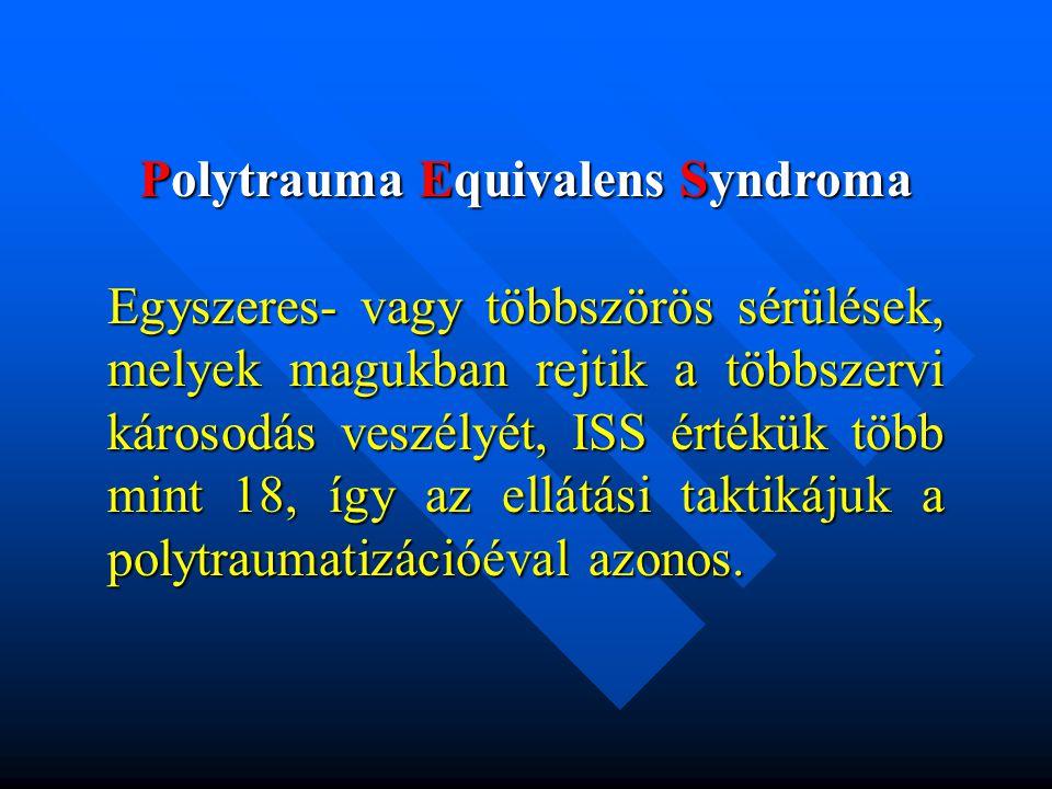 Polytrauma Equivalens Syndroma Egyszeres- vagy többszörös sérülések, melyek magukban rejtik a többszervi károsodás veszélyét, ISS értékük több mint 18, így az ellátási taktikájuk a polytraumatizációéval azonos.