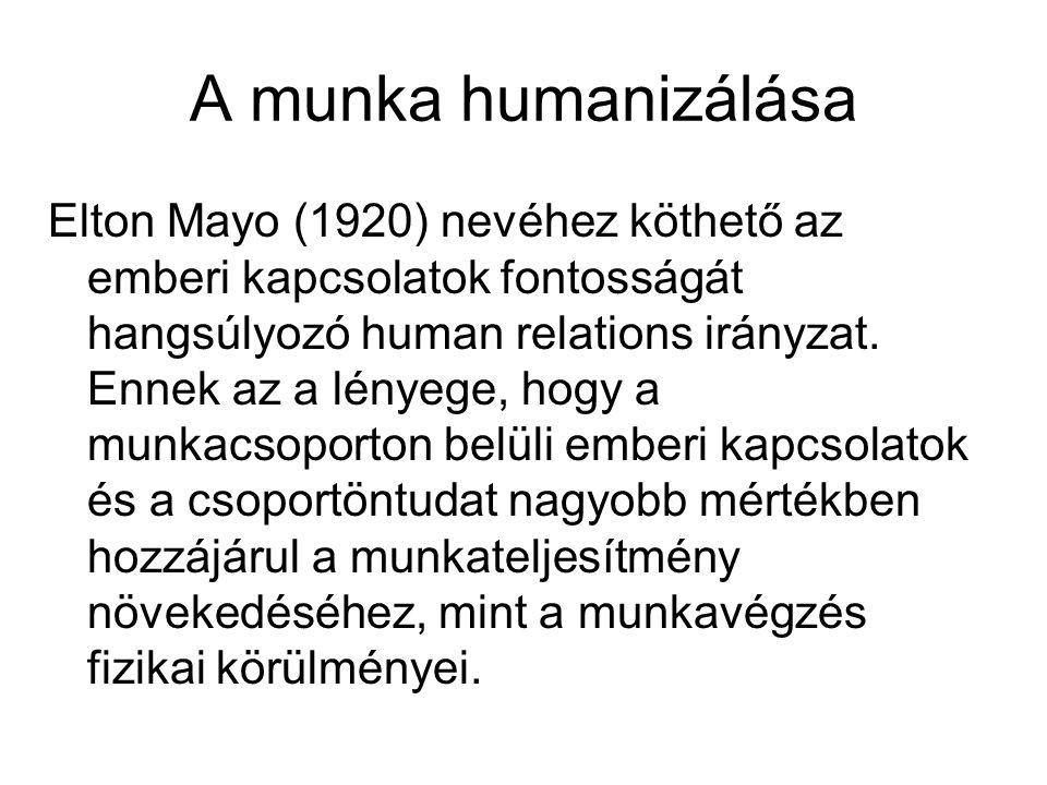 A munka humanizálása Elton Mayo (1920) nevéhez köthető az emberi kapcsolatok fontosságát hangsúlyozó human relations irányzat.