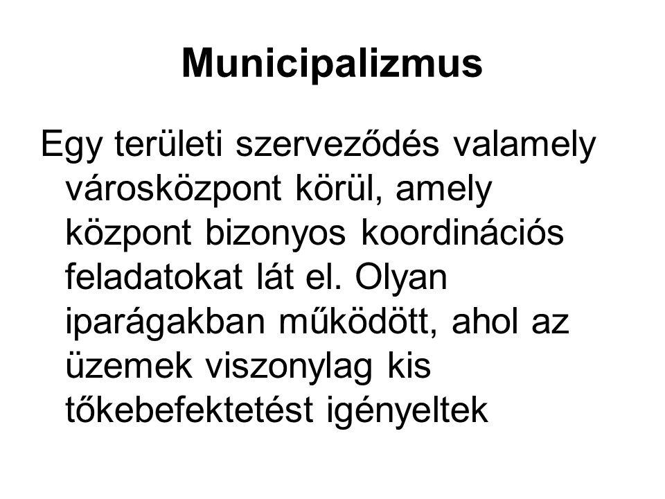 Municipalizmus Egy területi szerveződés valamely városközpont körül, amely központ bizonyos koordinációs feladatokat lát el.