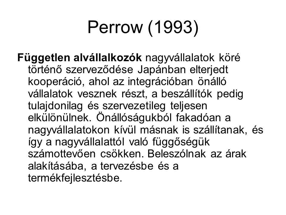 Perrow (1993) Független alvállalkozók nagyvállalatok köré történő szerveződése Japánban elterjedt kooperáció, ahol az integrációban önálló vállalatok vesznek részt, a beszállítók pedig tulajdonilag és szervezetileg teljesen elkülönülnek.