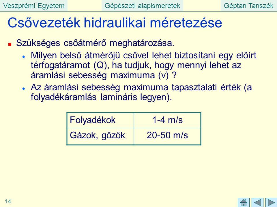 Veszprémi EgyetemGépészeti alapismeretekGéptan Tanszék 14 Csővezeték hidraulikai méretezése Szükséges csőátmérő meghatározása. Milyen belső átmérőjű c