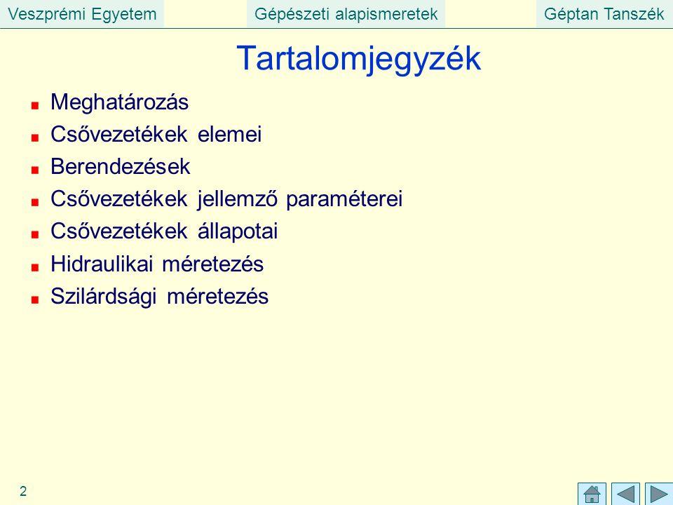 Veszprémi EgyetemGépészeti alapismeretekGéptan Tanszék 2 Tartalomjegyzék Meghatározás Csővezetékek elemei Berendezések Csővezetékek jellemző paraméter