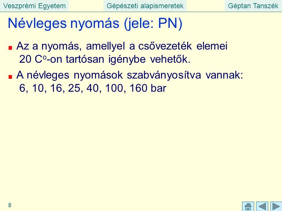 Veszprémi EgyetemGépészeti alapismeretekGéptan Tanszék 8 Névleges nyomás (jele: PN) Az a nyomás, amellyel a csővezeték elemei 20 C o -on tartósan igén
