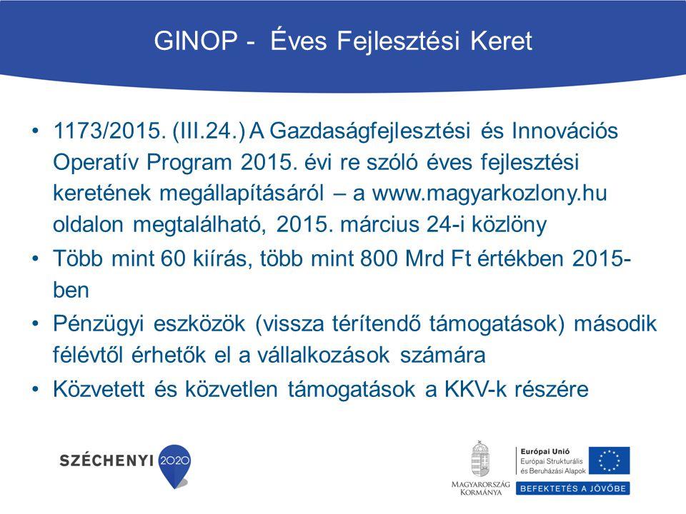 GINOP - Éves Fejlesztési Keret 1173/2015. (III.24.) A Gazdaságfejlesztési és Innovációs Operatív Program 2015. évi re szóló éves fejlesztési keretének