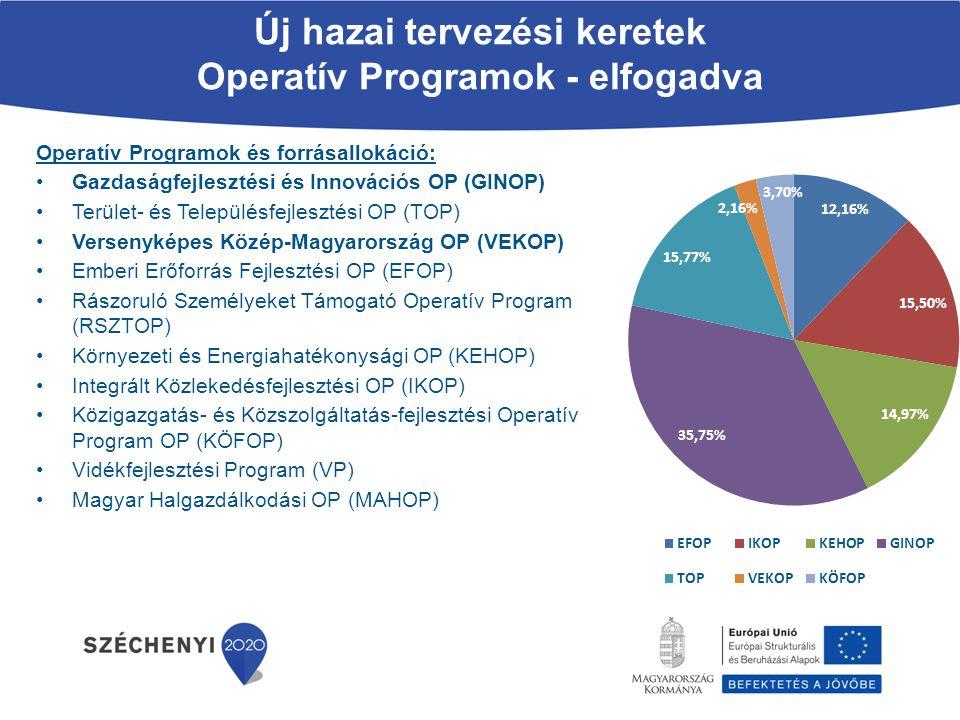 Gazdaságfejlesztési és Innovációs Operatív Program (GINOP) Stratégiai céljai  Működési tényezők minőségének javítása, körének bővítése – a vállalkozások számára fontos munkaerő, tőke, infrastruktúra, technológiai, természeti és kulturális erőforrások köre bővüljön, elérhetősége javuljon  Gazdasági együttműködések erősítése – Nőjön a piacépítést szolgáló összefogások, vállalkozói együttműködések, beszerzési rendszerek száma és jelentősége  Versenyképességi akadályok lebontása - A vállalkozások számára könnyebben megvalósítható legyen az új piacokra való belépés, az üzleti modell minőségi javítása.
