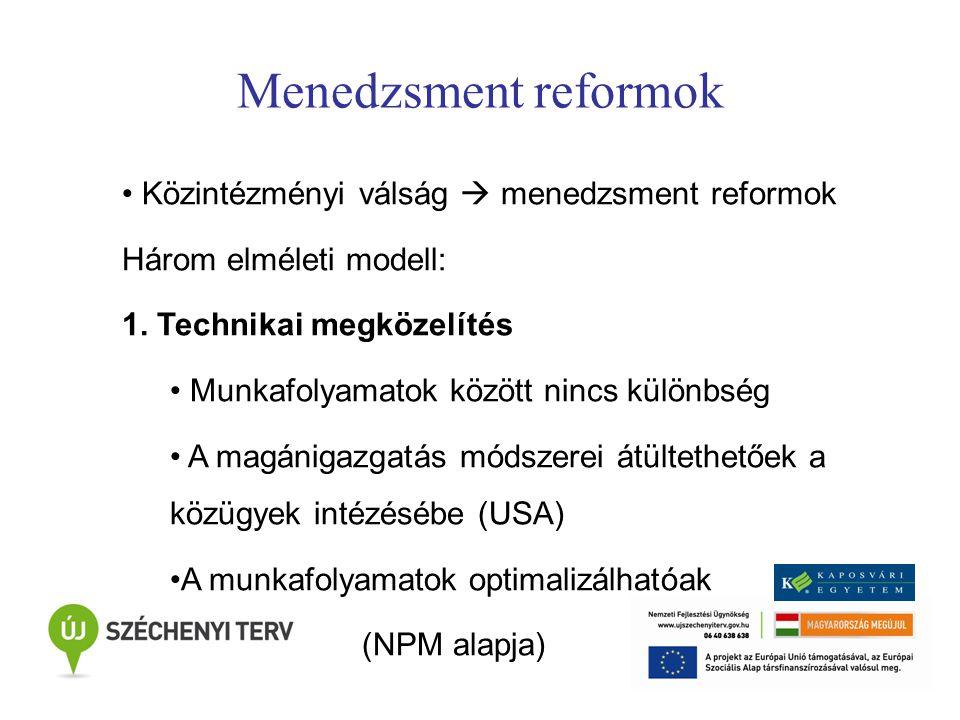 Menedzsment reformok Közintézményi válság  menedzsment reformok Három elméleti modell: 1. Technikai megközelítés Munkafolyamatok között nincs különbs
