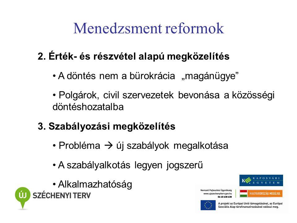 """Menedzsment reformok 2. Érték- és részvétel alapú megközelítés A döntés nem a bürokrácia """"magánügye"""" Polgárok, civil szervezetek bevonása a közösségi"""