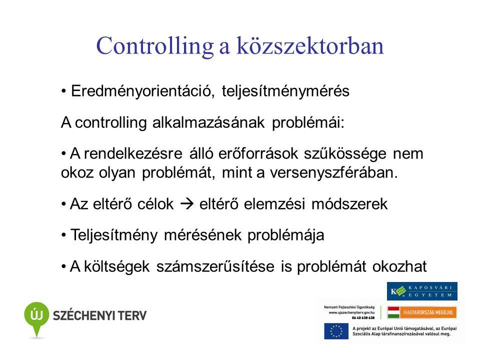 Controlling a közszektorban Eredményorientáció, teljesítménymérés A controlling alkalmazásának problémái: A rendelkezésre álló erőforrások szűkössége nem okoz olyan problémát, mint a versenyszférában.
