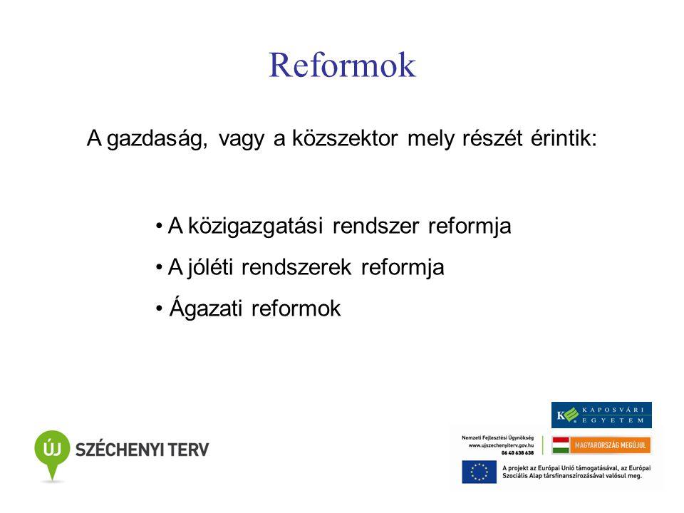Reformok A gazdaság, vagy a közszektor mely részét érintik: A közigazgatási rendszer reformja A jóléti rendszerek reformja Ágazati reformok