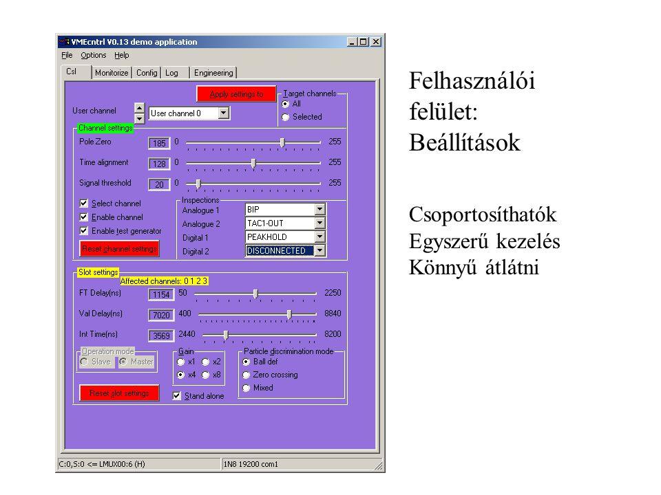 Felhasználói felület: Beállítások Csoportosíthatók Egyszerű kezelés Könnyű átlátni