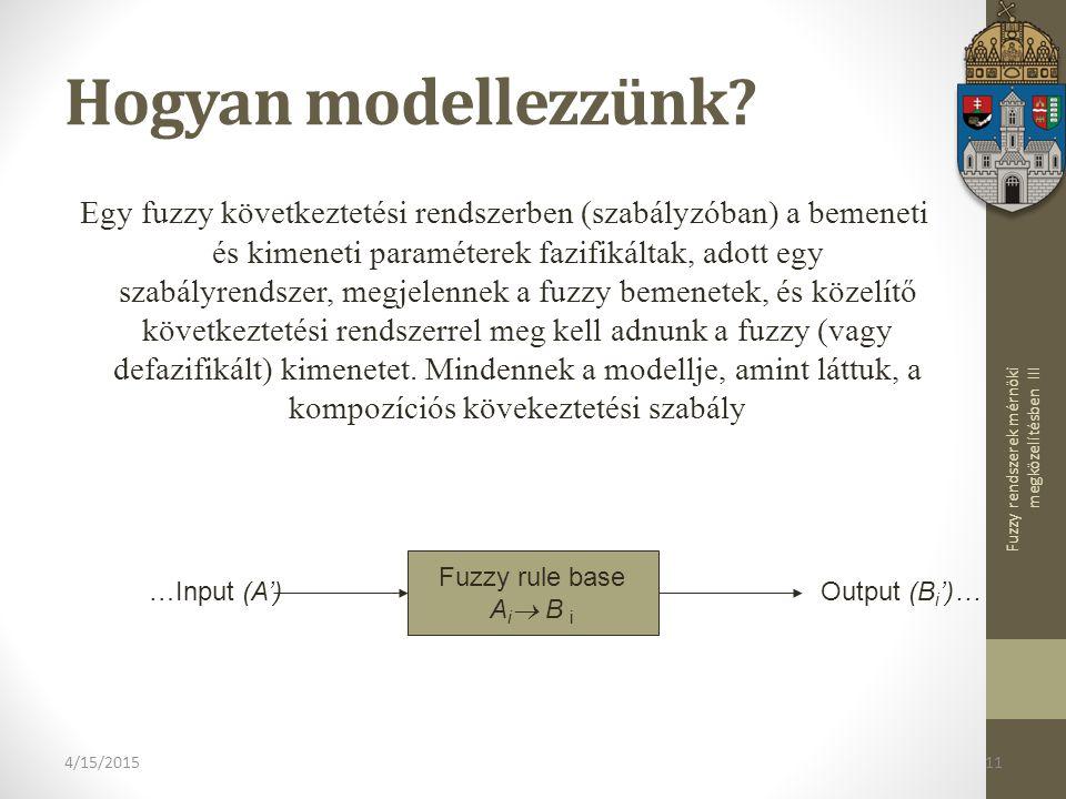 Fuzzy rendszerek mérnöki megközelítésben III 4/15/201511 Hogyan modellezzünk.