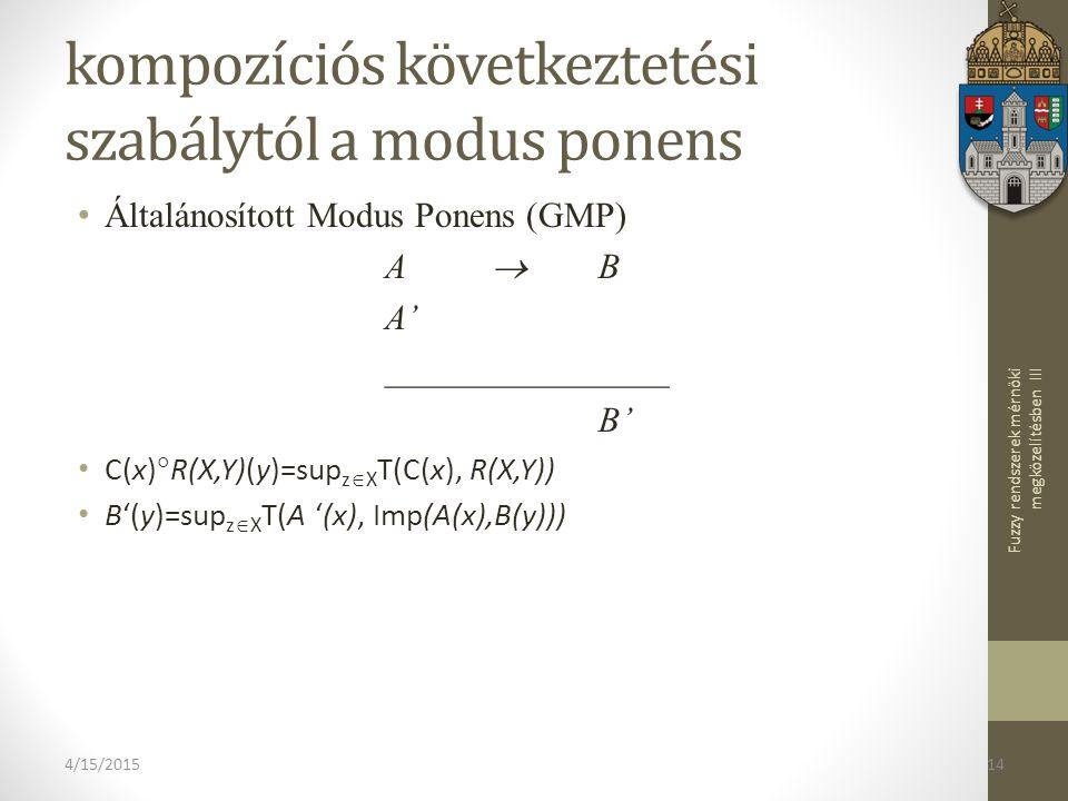 Fuzzy rendszerek mérnöki megközelítésben III 4/15/201514 kompozíciós következtetési szabálytól a modus ponens Általánosított Modus Ponens (GMP) ABAB A' ________________ B' C(x)  R(X,Y)(y)=sup z  X T(C(x), R(X,Y)) B'(y)=sup z  X T(A '(x), Imp(A(x),B(y)))