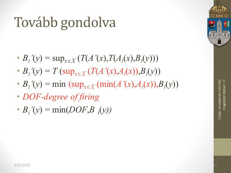 Fuzzy rendszerek mérnöki megközelítésben III 4/15/201516 Tovább gondolva B i '(y) = sup x  X (T(A'(x),T(A i (x),B i (y))) B i '(y) = T (sup x  X (T(A'(x),A i (x)),B i (y)) B i '(y) = min (sup x  X (min(A'(x),A i (x)),B i (y)) DOF-degree of firing B i '(y) = min(DOF,B i (y))
